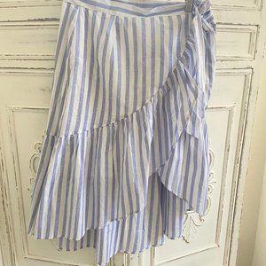 Lush Wrap Skirt Blue & White striped w/ Ruffle